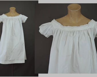 Vintage White Cotton Nightgown with Short Sleeves, 36 bust shortened Antique 1900s Lingerie