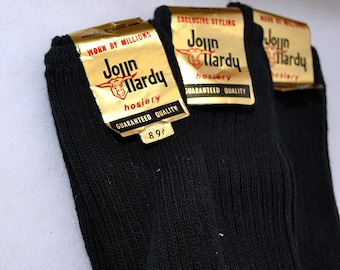 Three Pairs of Vintage 1960s Mens Socks NOS by John Hardy Hosiery Cotton  Size  12-1/2 to 13