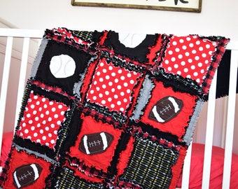 Sports Crib Bedding - Black / Red Baseball Nursery - Football Nursery - Boy Crib Bedding Set - Crib Size Rag Quilt, Sheet, Skirt, Bumper