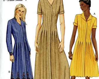 Vogue 7569 Pleat Tucks Dress Fly Button Closing Size 6 8 10 Uncut Sewing Pattern 2002