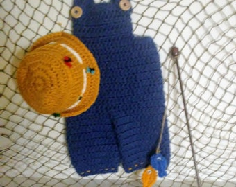Newborn Overalls and hat, fisherman photo prop