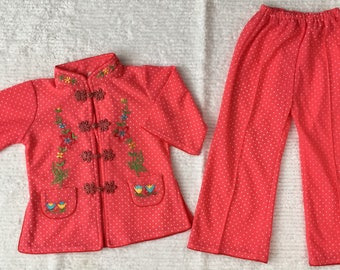 Vintage 2 pc Red *2T* Chinese Polka Dot Cotton Applique Embroidered Top Pants