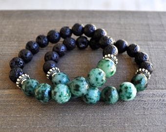 Green Tree Agate Gemstone & Lava Rock Beaded Bracelet Unisex Perfect For A Man or Woman Stackable Artisan Jewelry