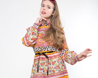 Early 70s Paisley Polka Dot Floral Gauze Dress with Slip and Belt S