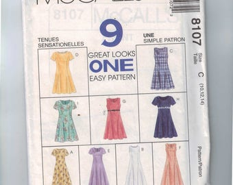 1990s Sewing Pattern MCalls 8107 Misses Princess Seam Dress Back Zipper Long Short Size 10 12 14 Bust 32 34 36 UNCUT