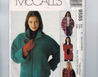 Misses Sewing Pattern McCalls 9585 Misses Polar Gear Fleece Lined Jacket Zipper Front Two Lengths Size 4 6 8 10 12 14 Bust 30 32 34 36 UNCUT