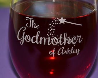 Custom Engraved Godmother/Godfather Glass, Baptism Gifts, Personalized Fairy Godmother Present, Will You Be My Godparent Christening Gifts