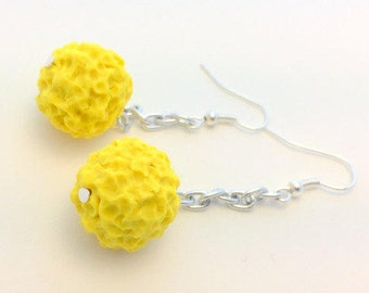 Lemon Crunch Berry Polymer Clay Handmade Beads and Silver Chain Drop Earrings