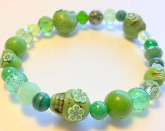 Green Skull Bracelet Day of the Dead Sugar Skull Stretchy Bracelet