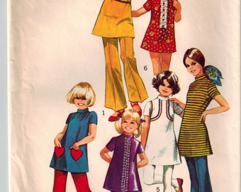 Vintage 70's Little Girls' Mini Dress and Bell Bottom Pants Sewing Pattern Size 6 Stand Up Collar Short Sleeves Heart Shaped Pocket Back Zip