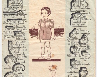 Vintage Sewing Pattern French 1940's Patron Modèle 400303 Toddler Romper Costume