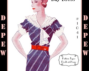 Vintage Sewing Pattern 1930s Dress With Collar in Any Size- Plus Size Included- Depew A-1041 Draft at Home Pattern -INSTANT DOWNLOAD-