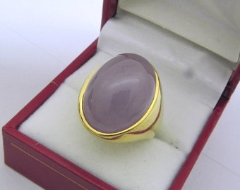 AAAA Lavender Jade Natural (Dyed) 20x16mm 22K yellow gold Signet ring 25-28 grams.  0604
