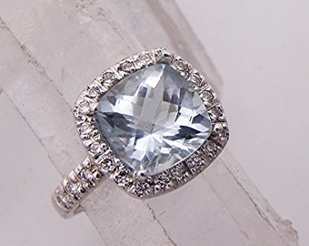 AAAA Aquamarine 10x10mm Cushion Cut 3.61 carats 14K White gold diamond (.45ct) Halo Engagement Ring 2015