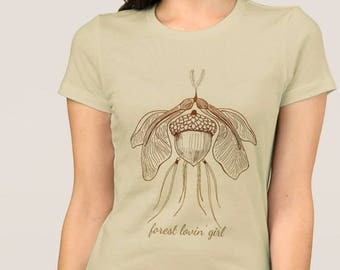 Nature Lover Imaginary Forest Moth Slim Fit Women'as Cotton T-Shirt in 4 Colours