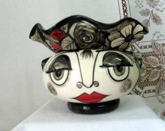 Ceramic African Violet Pot/ Planter Whimsical Impressionistic Black & White Flowers and Picasso Style Face, Red Lips 2 Piece on Etsy
