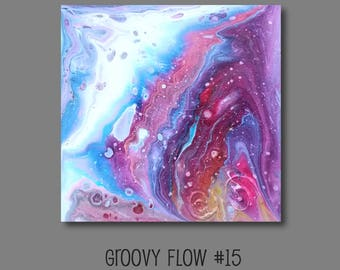 Groovy Abstract Acrylic Flow Painting #15 Ready to Hang 8x8