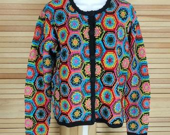 Vintage 90s Berek 2 crochet hexagon sweater cardigan multi color Takako Sakon size small to medium chest 40