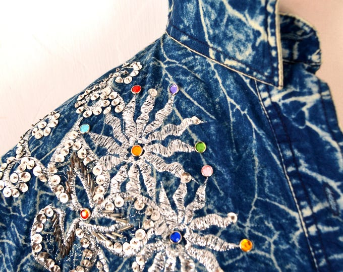 Stone Washed Vintage DENIM SHIRT with Embroidery, Sequins and Beads