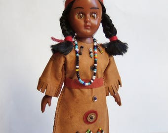 Native American Indian Squaw - Vintage Doll with Leather Beaded Dress