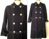 60s Vintage Trench Coat / 1960s Mod Navy Blue Double Breasted Trench Jacket/ Misty Harbor MOD MADELINE Coat