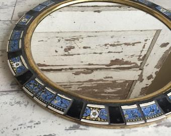 Vintage Round Mirror Brass Wall Hanging - Mosaic Frame - Blue Black Johnson Brothers