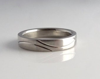 4mm Fresh Tracks Ring, Mountain Ring, Handcrafted in Sterling Silver, Palladium, 14k or 18k Yellow & White Gold, Platinum