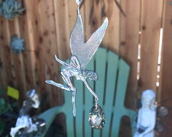Pewter fairy Faerie Suncatcher Teardrop Silver, Gold Patina, Fantasy Angel Fairy Car Charm, Home Decor Window Crystal Charm, Hanging Crystal