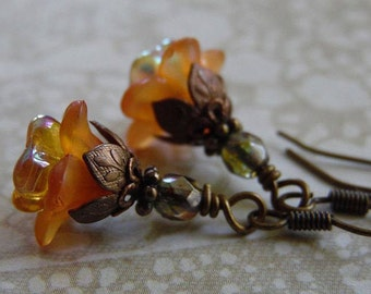 Orange Blossom Fall Flower Earrings with Lucite Flowers, Czech Glass, and Antique Brass