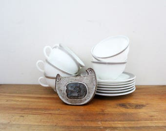 vintage 1950s Pyrex Dinnerware Dove Gray Band Set of 7 Tea Cups & Saucers