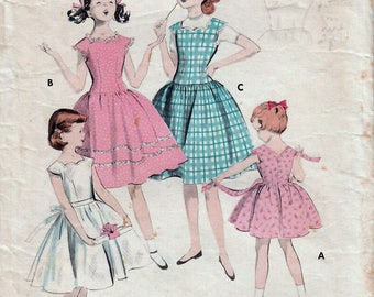 1950s Butterick 7699 Vintage Sewing Pattern Girl's Party Dress, Scalloped dress, Drop Waist Dress, Full Skirt Dress Size 10