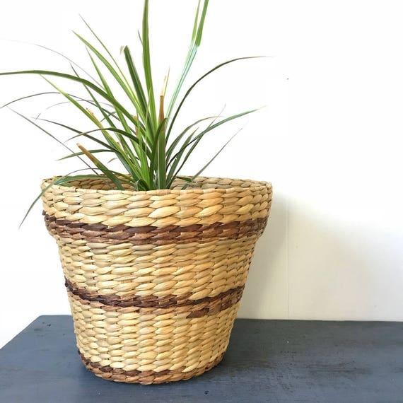 vintage woven basket - medium rattan basket - striped planter - boho flowerpot - beige brown