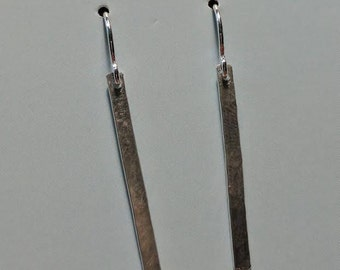 Hammered Sterling Matchstick  Dangle Earring on Sterling Wire