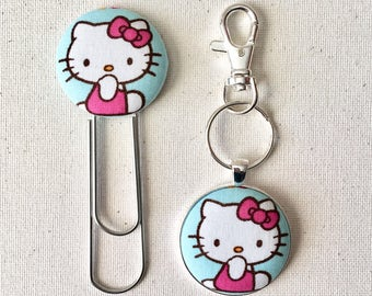 Hello Kitty Fabric Button Keychain, Fabric Button Bookmark, Large Bookmark, Large Paperclip, Planner Supply, Hello Kitty, Key Accessory