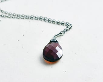 Chalcedony Necklace, Chalcedony Pendant, Gemstone Necklace, Gemstone Pendant, Wire Wrapped, Sterling Silver, Crystal Necklace, PoleStar