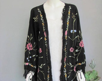 Vintage 1970's Black Embroidered Boho Kimono with Fringe, Shawl Style Robe made in India, OSFA L XL