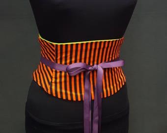 Striped Black and Orange Halloween Corset Waist Cincher Any Size