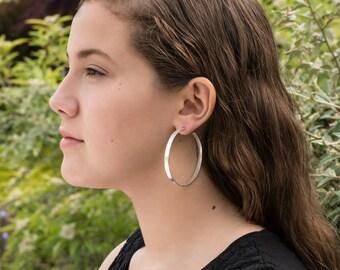 55mm sterling silver hoop earrings, shiny, matte texture