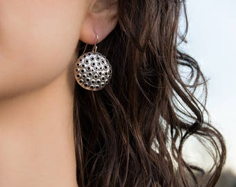 Perforated Sterling Silver Earrings, Round, Shiny, 25mm.