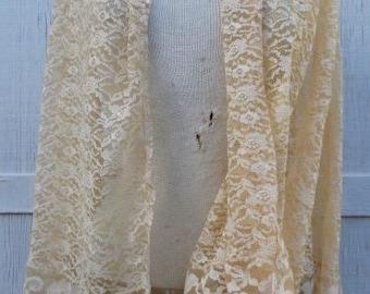 Upcycled Lace Shawl Vintage Kimono Evening Wrap Recycled Wedding Bridal Boho Hippie Bride One Size