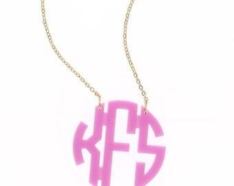 Heartstrings Large Circle Monogram Acrylic Necklace