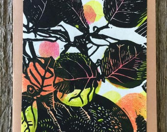 Autumn Sea Grape Bonsai,  handmade linocut artist print kraft paper card