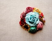 Turquoise plum yellow red pink Wildflower vintage style hand crafted millinery floral corsage hair accessory supply