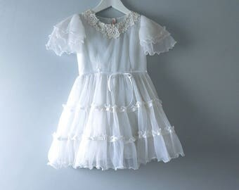 Vintage White Childs Dress | 1960s White Tiered Chiffon Childs Girls Dress | Flower Girl Bridal Dress Size 6X