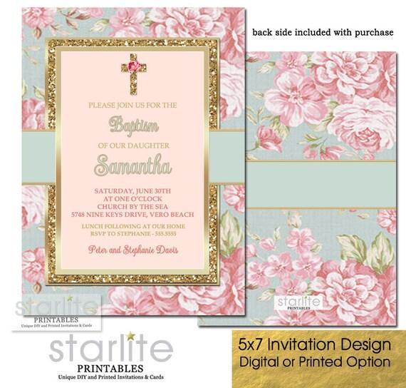 girl baptism invitation floral baptism invitation girl pink gold
