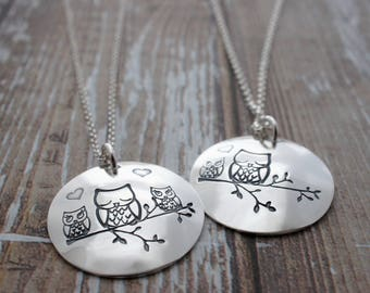 Valentine Gifts - Mother and Child Owl Necklace in Sterling Silver - Hand Stamped Woodland Charm Necklace - Mother's Jewelry Gifts