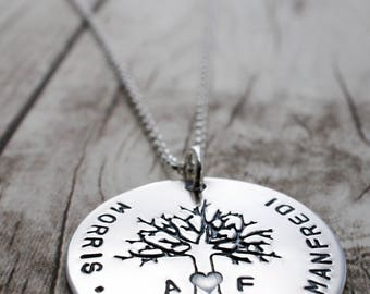 Mother's Day Jewelry - Personalized Family Tree Necklace - Oak Tree Pendant with Family Names and Initials - Custom Hand Drawn Design by EWD
