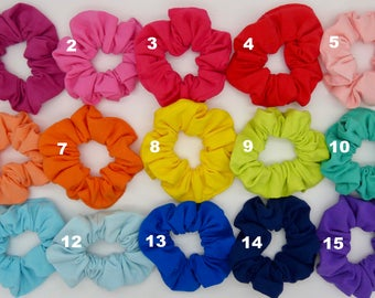 Jersey scrunchies, plain colour scrunchies, cotton jersey bands, hair bands, hair scrunchies, elastic scrunchies, rainbow colour scrunchies