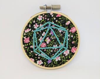 Icosahedron Beaded on Flower Pattern Fabric Embroidery Dark Garden Sacred Geometry