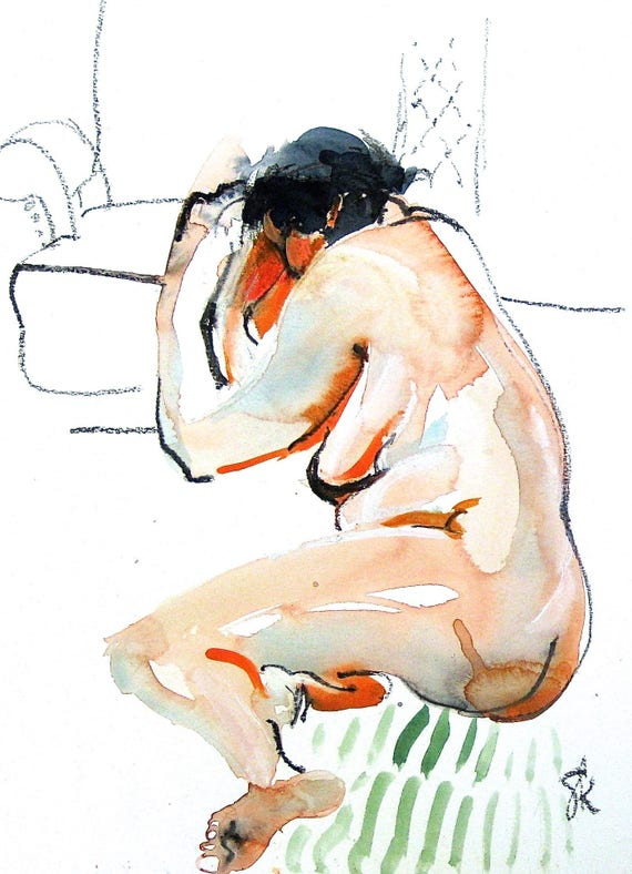 Nude painting- #1485 -original  by Gretchen Kelly